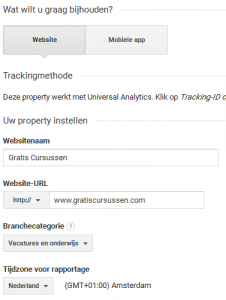 Website toevoegen in Google Analytics