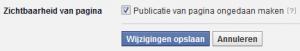 Facebook pagina offline
