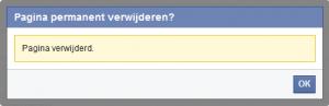 Facebook pagina verwijderd