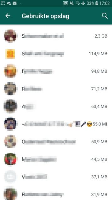 WhatsApp opslag per groep